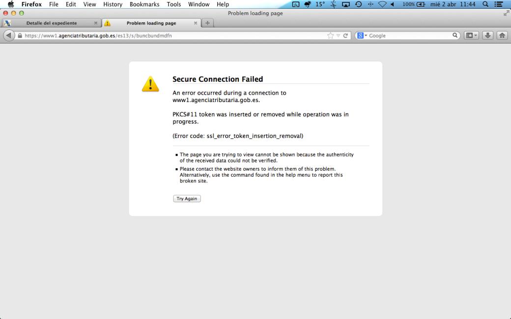 Error en la firma electrónica con DNIe (Renta 2013)