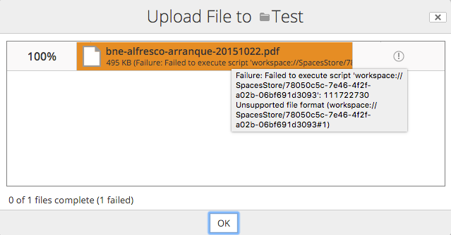 Alfresco – Disabling file upload by MIME type with 1 line of JS code