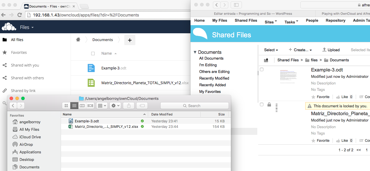 Playing with OwnCloud and Alfresco to configure a Desktop